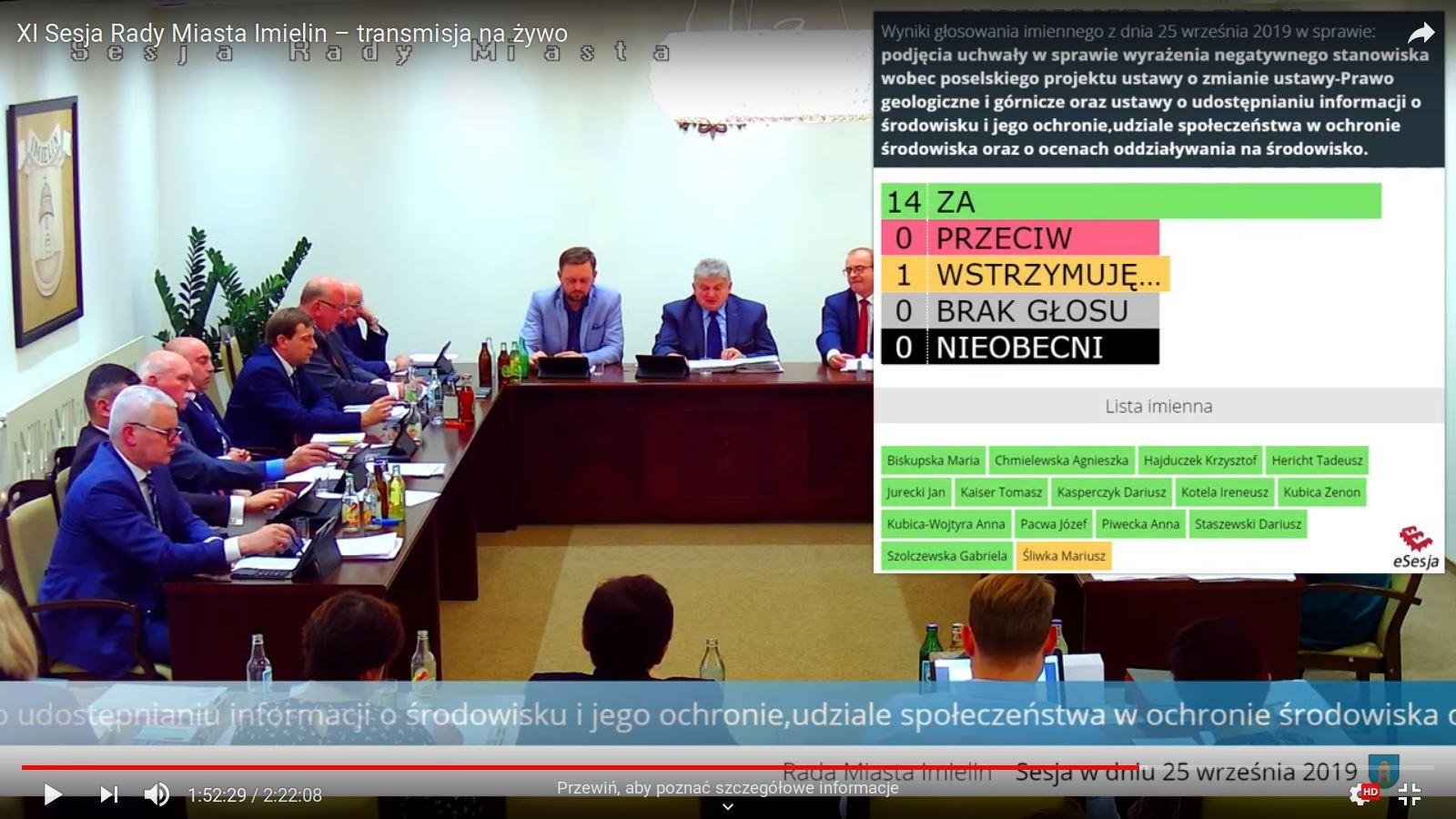 Rada Miasta Imielin przeciwko specustawie węglowej